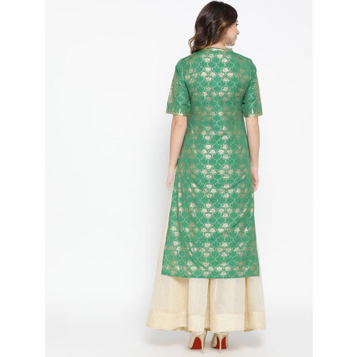 AURELIA Women Green & Golden Printed Straight Kurta