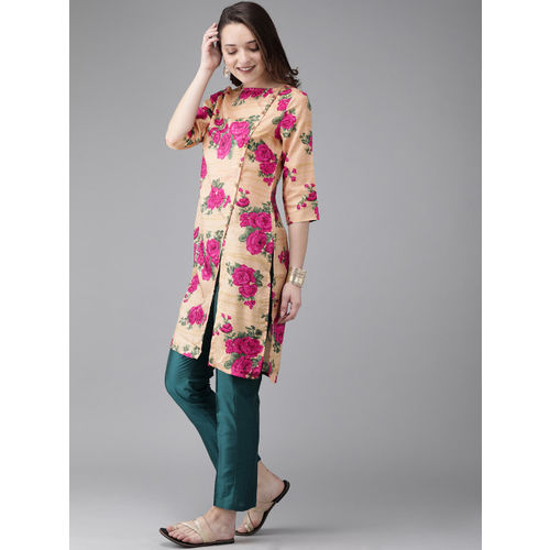 Anouk Women Beige & Pink Printed Fusion A-Line Kurta