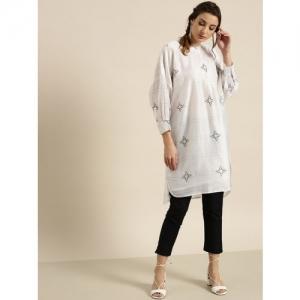 Moda Rapido Women White & Charcoal Grey Checked Boxy Straight Kurta