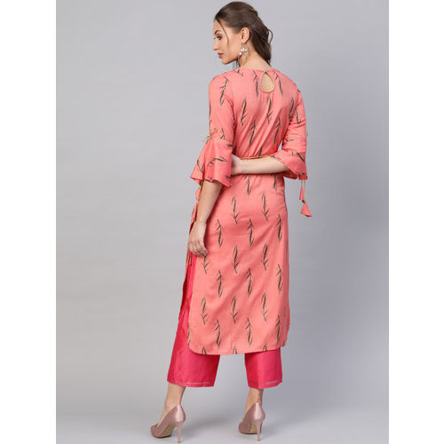 La Firangi Women Pink & Black Printed Straight Kurta With Belt