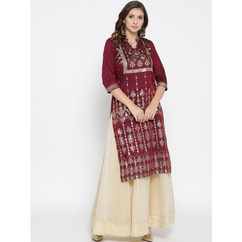 AURELIA Women Maroon & Golden Printed Straight Kurta
