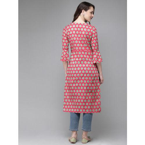 Anouk Women Pink & Turquoise Blue Printed Straight Kurta