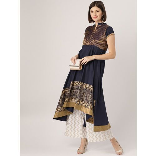 MBE Women Navy Blue & Golden Yoke Design Empire Kurta with Printed Hem