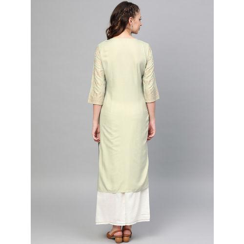W Women Sea Green & Golden Printed Straight Kurta