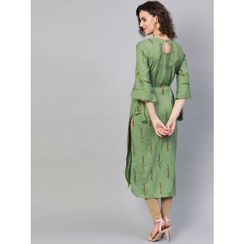 La Firangi Women Green & Black Printed Straight Kurta