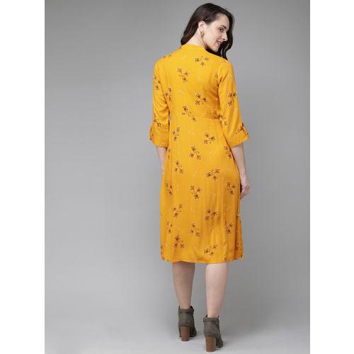 Anouk Women Mustard Yellow & Black Printed A-Line Kurta