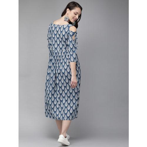 Anouk Women Blue & White Printed Fusion A-Line Kurta