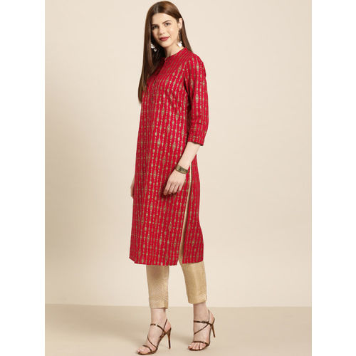 all about you from Deepika Padukone Women Red & Gold-Toned Printed Straight Kurta