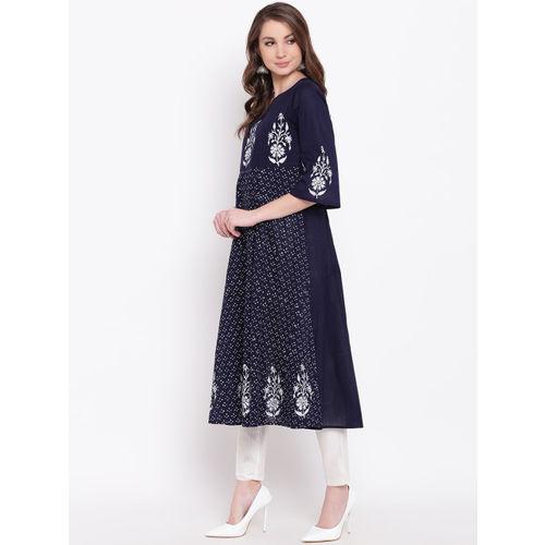 Shakumbhari Women Blue & White Printed Anarkali Kurta