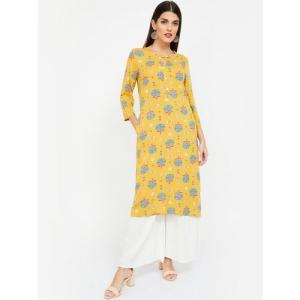 Melange by Lifestyle Women Yellow & Blue Printed Straight Kurta