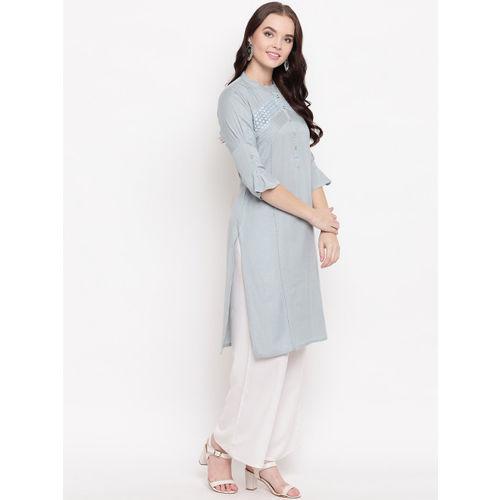 Kvsfab Women Grey Woven Design Straight Kurta