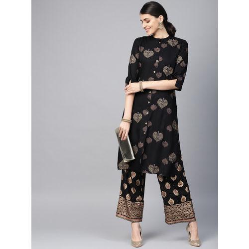 Juniper Women Black & Gold-Toned Printed Straight Kurta