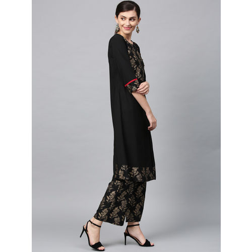 ZIYAA Women Black & Gold-Coloured Printed A-Line Kurta