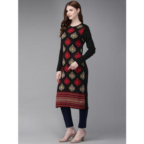 Anouk Women Black & Red Woven Design Straight Sweater Kurta