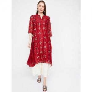 Melange by Lifestyle Women Red Embellished A-Line Kurta
