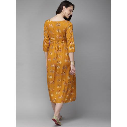 Anouk Women Mustard Yellow Printed A-Line Fusion Kurta