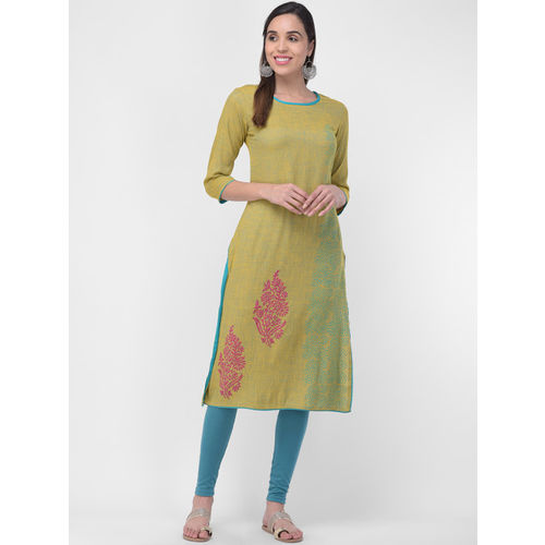 aayusika Women Yellow & Green Printed Straight Kurta