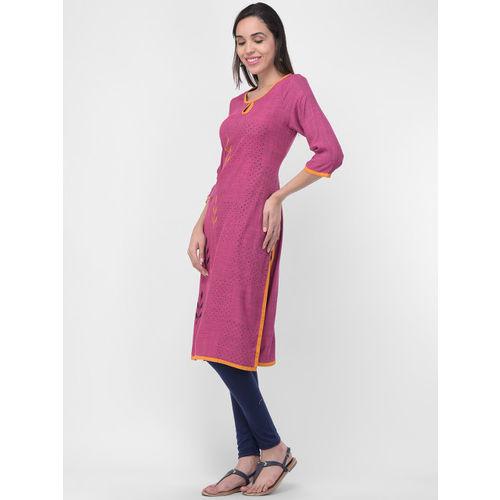 aayusika Women Pink Printed Straight Kurta