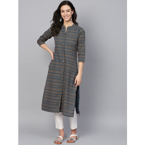 KSUT Women Navy Blue & Orange Printed Straight Kurta