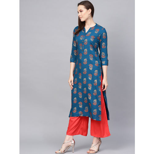 KSUT Women Teal Blue & Rust Red Foil Print Straight Kurta