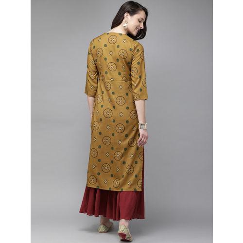 Anouk Women Mustard Yellow Printed Straight Kurta