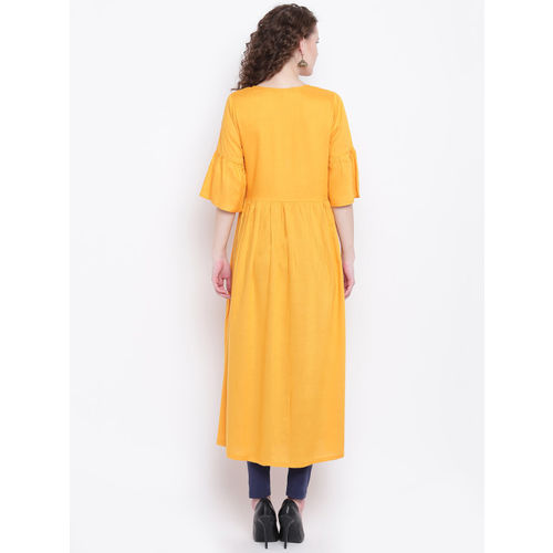 Napra Women Mustard Yellow Solid Anarkali Kurta With Jacket