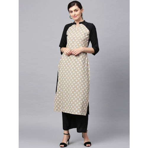 ZIYAA Women Beige & Black Printed Straight Kurta