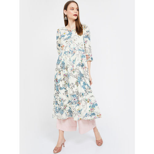 Melange by Lifestyle Women Off-White & Blue Printed Anarkali Kurta