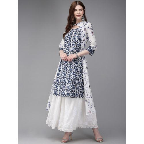 Anouk Women White & Navy Blue Printed Fusion A-Line Layered Kurta