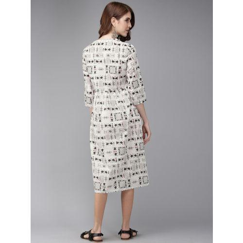 Anouk Women Off-White & Black Printed A-Line Fusion Kurta