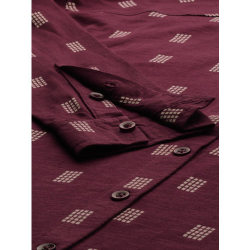 Roadster Women Maroon & Off-White Regular Fit Printed Casual Shirt