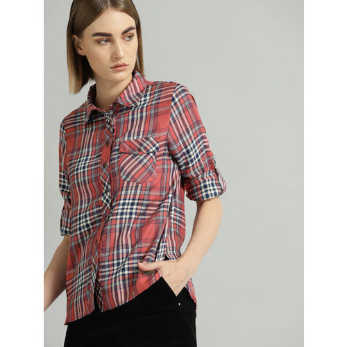 Roadster Women Pink & Navy Blue Regular Fit Checked Casual Shirt