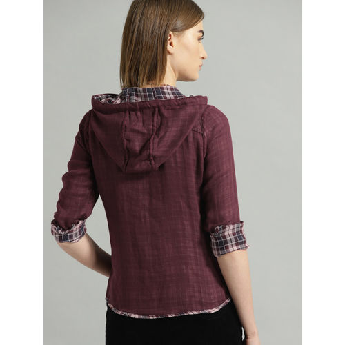 Roadster Women Burgundy & Navy Blue Regular Fit Checked Hooded Reversible Casual Shirt
