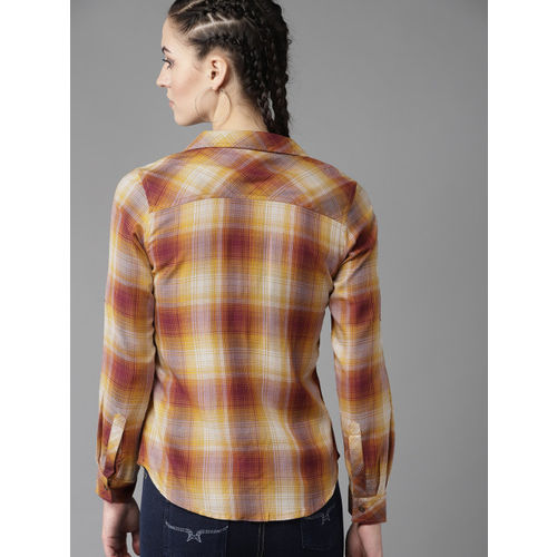Roadster Women Mustard Yellow & Brown Regular Fit Checked Casual Shirt