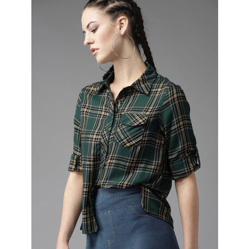 Roadster Women Green & Black Regular Fit Checked Casual Shirt