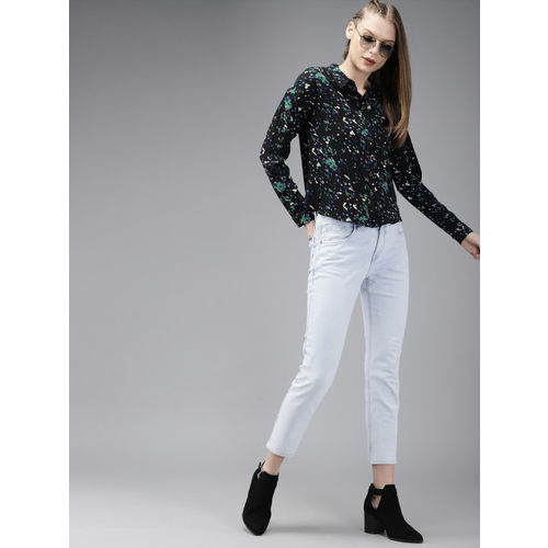 Roadster Women Black & Peach-Coloured Regular Fit Printed Casual Shirt