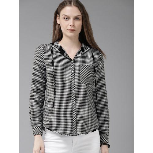 Roadster Women Black & White Checked Reversible Shirt