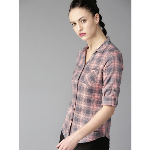Roadster Women Peach-Coloured & Grey Regular Fit Checked Casual Shirt