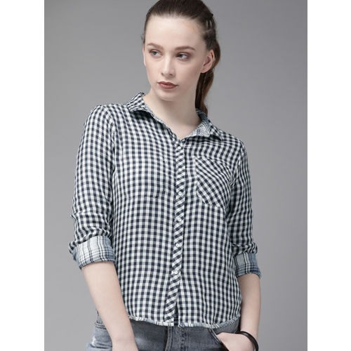 Roadster Women Blue & Off-White Regular Fit Reversible Checked Casual Shirt
