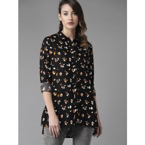 Roadster Women Black & Off-White Regular Fit Printed Longline Casual Shirt