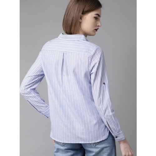 Roadster Women Blue & White Regular Fit Striped Casual Shirt