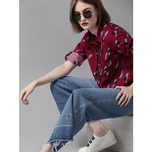 Roadster Women Red & Blue Regular Fit Printed Casual Shirt