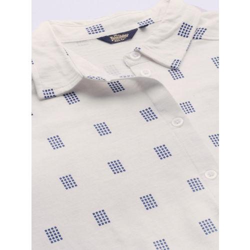 Roadster Women White & Navy Blue Regular Fit Printed Casual Shirt