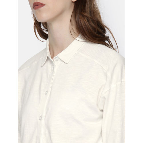 Roadster Women Off-White Regular Fit Solid Casual Shirt