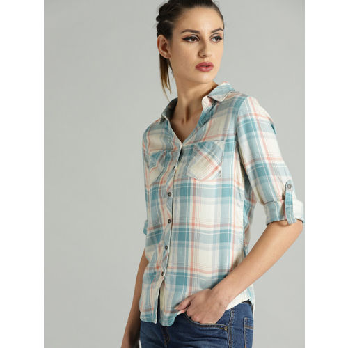 Roadster Women Off-White & Blue Regular Fit Checked Casual Shirt