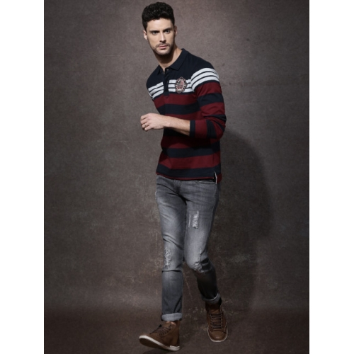 Roadster Men Navy & Maroon  Polo T-Shirt