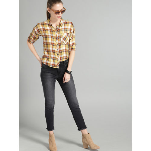 Roadster Women Yellow & Brown Regular Fit Checked Casual Shirt