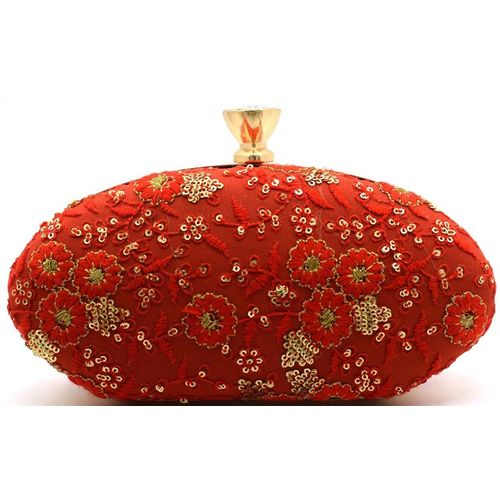 Tooba Handicraft Party Red Clutch