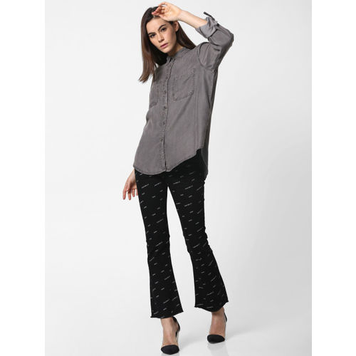 ONLY Women Grey Slim Fit Solid Casual Denim Shirt