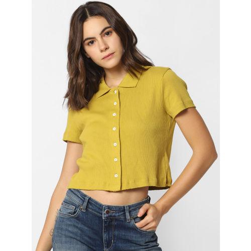 ONLY Women Yellow Regular Fit Self Design Casual Shirt
